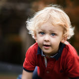 Toddler plays in the garden stock photography