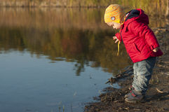 Toddler on the pond. Boy stands on the shore and looking into the water of pond. Surface of the water is smooth. The season of autumn. He dressed in rad jacket Stock Photography