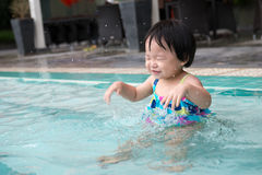 Toddler in the pool Stock Images