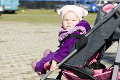 Toddler in pram Royalty Free Stock Photo