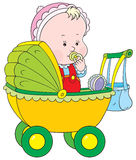 Toddler in a pram. Vector clip-art of a small child sitting in a pram Stock Photo