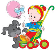 Toddler in a pram and pup. Vector clip-art of a funny gray pup and small child sitting in a pram and holding a balloon Royalty Free Stock Photography