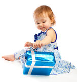 Toddler with present royalty free stock photography