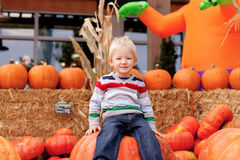 Toddler at the pumpkin patch Royalty Free Stock Photo