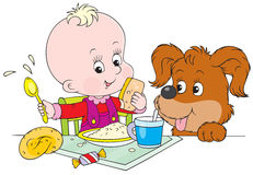 Toddler and pup at dinner. Vector clip-art of a smiling child with his pup at the dinner table Stock Images