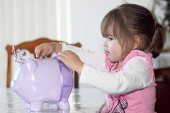 Toddler Putting Money in Savings. Cute toddler girl putting money her piggy bank Stock Photo
