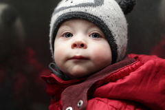 Toddler in red jacket Royalty Free Stock Images