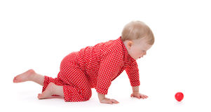 Toddler in red pajama Royalty Free Stock Photography