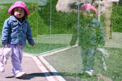Toddler Reflection. Toddler looking at her reflection Royalty Free Stock Photography