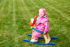 Toddler on rocking horse Stock Photography