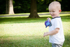 Toddler Running Outside Stock Photo