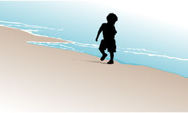 Toddler Running for Waves Royalty Free Stock Images