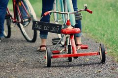 Toddler's Red Tricycle Royalty Free Stock Images