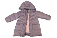 Toddler`s winter jacket with hood isolated on white stock images