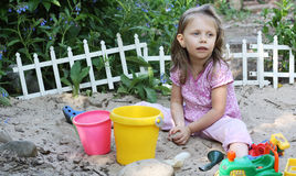 Toddler in Sand Box Royalty Free Stock Images