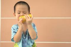 Toddler seriously eating corn Royalty Free Stock Image