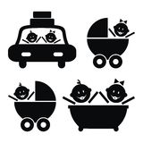 Toddler, set. Toddler in car, in stroller and in bathtub. Black vector icons Royalty Free Stock Photos