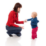 Toddler sharing toy Royalty Free Stock Images