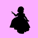 Toddler silhouette. Toddler girl silhouette in black with purple/pink background stock illustration