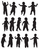 Toddler silhouettes Stock Images