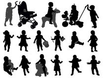 Toddler silhouettes collection Stock Photos