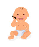 Toddler sitting and talking on the phone. Illustration baby playing with the phone in flat style Stock Photography
