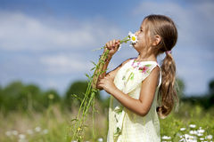 Toddler smelling flower Royalty Free Stock Images