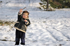 Toddler in Snow Royalty Free Stock Photos