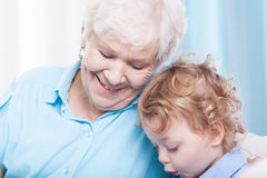 Toddler spending time with grandma Stock Photo