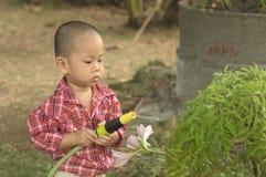 Toddler splash water over plant Royalty Free Stock Image