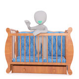 Toddler standing in his crib Stock Photo