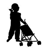 Toddler with stroller toy. Toddler playing with stroller toy silhouette stock illustration
