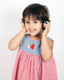 Toddler talking and posing Royalty Free Stock Images