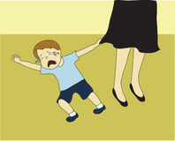 Toddler Tantrum. Toddler throwing a tantrum by Mother's legs Royalty Free Stock Image
