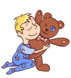 Toddler with teddy. Isolated on white. Vector illustration Stock Photos