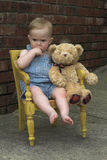 Toddler and Teddy Stock Image