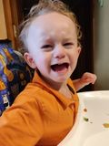 Toddler temper tantrum about food. Little boy in an orange shirt in a highchair throwing a temper tantrum at dinner time stock images