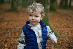 Toddler in Tollymore, Newcastle, Northern Ireland. Toddler wearing blue vest outdoors in Tollymore forest park, Newcastle, Northern Ireland royalty free stock photo
