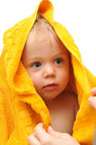 Toddler in a towel royalty free stock image