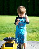 Toddler and toy truck Royalty Free Stock Photos