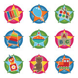 Toddler toys. Bright icons with toddler toys isolated on white stock illustration