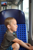 Toddler travels by train Royalty Free Stock Photo