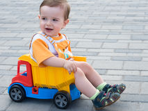Toddler in the truck Stock Photos