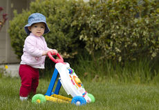 Toddler with walker toy  Royalty Free Stock Photo
