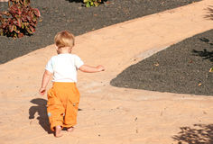 Toddler walking along path. View of back stock photography