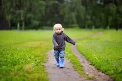Toddler walking at the autumn day Royalty Free Stock Photos