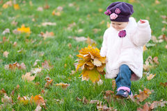 Toddler walking on the autumn meadow Stock Photos