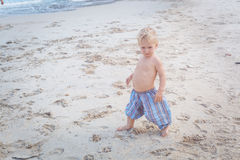 Toddler walking on a beach Stock Photography