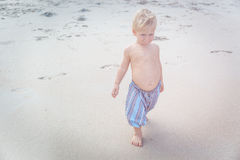 Toddler walking on a beach Royalty Free Stock Images