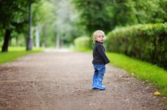 Toddler walking outdoors Stock Photography